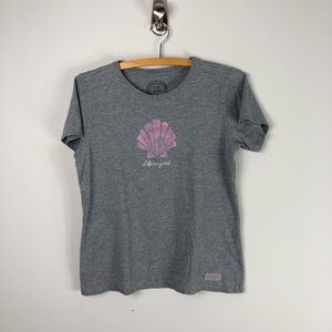 Life is Good Short Sleeve Gray T Scallop Shell 464